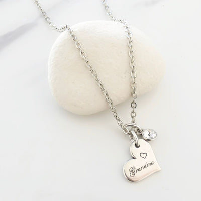 Grandma charm and crystal fine necklace, silver - Orli Jewellery