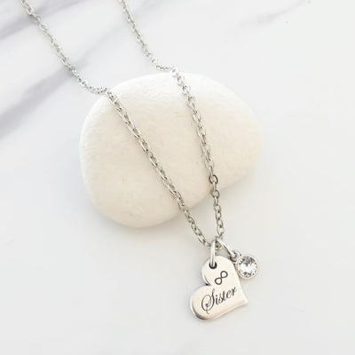 Sister charm and crystal fine necklace
