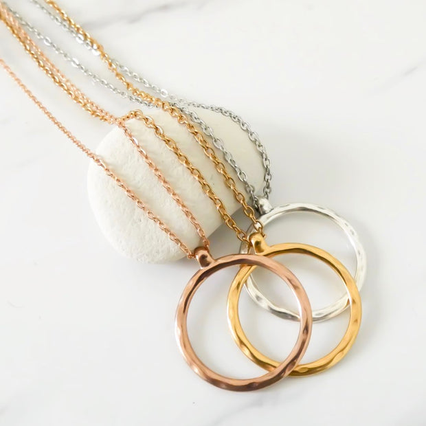 Hammered circle fine chain necklace, rose gold - Orli Jewellery