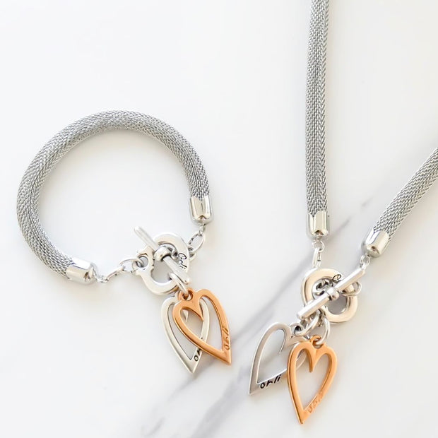Twin open hearts mesh chain necklace, silver and rose gold