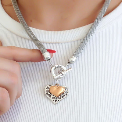 Filigree and mini heart mesh chain necklace, silver and rose gold