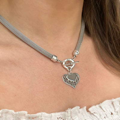 Filigree and mini heart mesh chain necklace, all silver