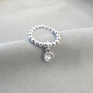 Silver beads and crystal ring