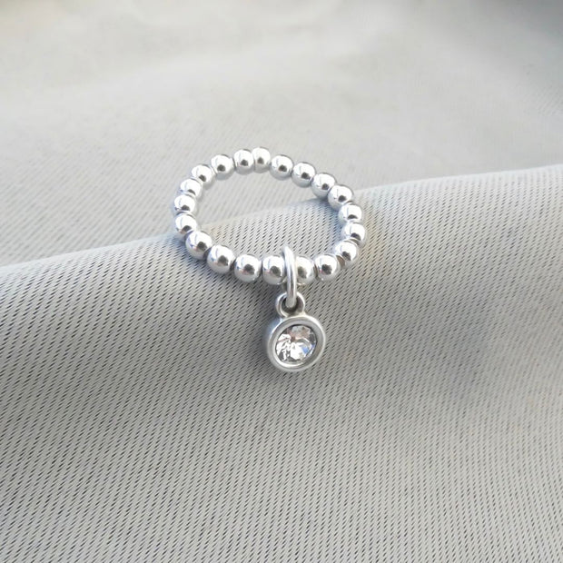 Beads and crystal ring