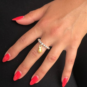 Silver beads ring with pineapple