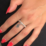Silver beads ring with cactus