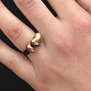 Leather heart ring, rose gold