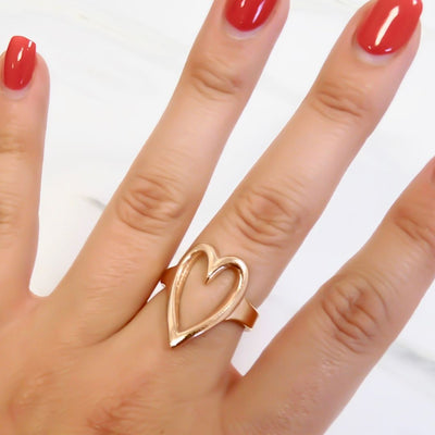 Open heart expandable ring, rose gold
