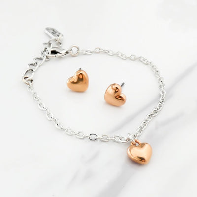 Puffed heart bracelet and earring set, silver and rose gold