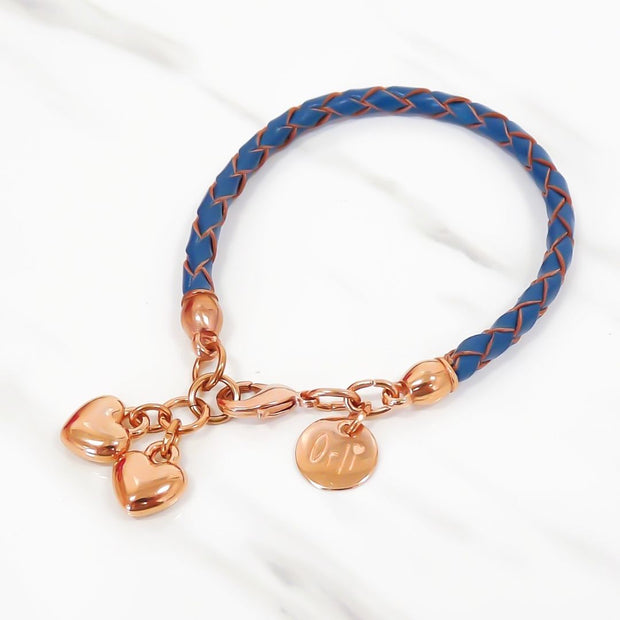 Twin hearts friendship bracelet, rose gold and denim
