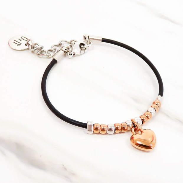 Leather beads and rose gold heart bracelet