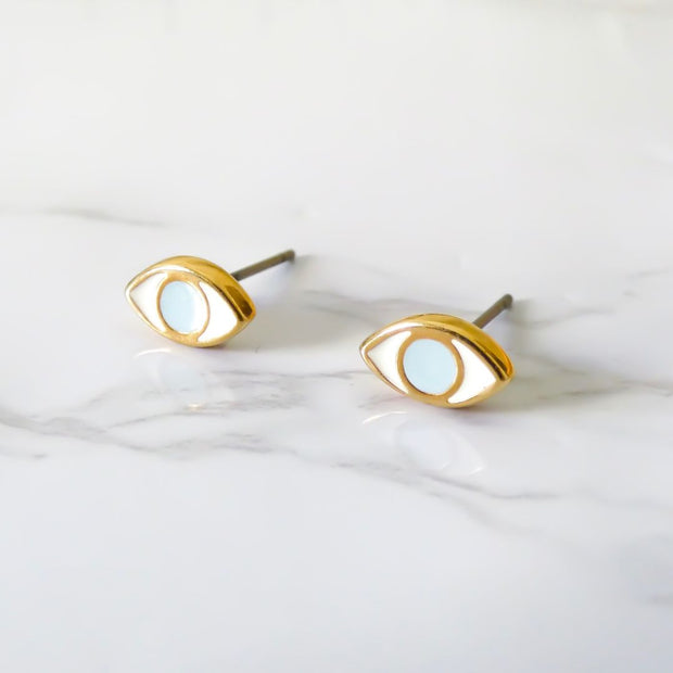 Oval evil eye stud earrings, yellow gold