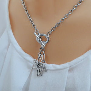 Open dragonflies necklace, all silver