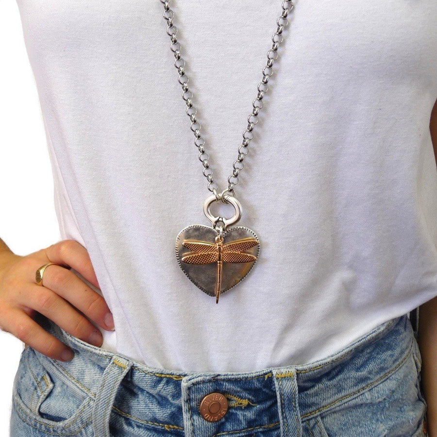 Hammered heart and dragonfly double necklace, two tone