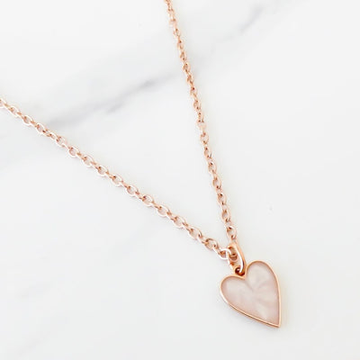 Marble heart fine necklace, rose gold