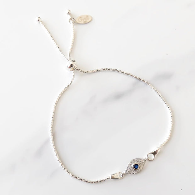 Sterling silver adjustable bracelet with crystal Evil Eye