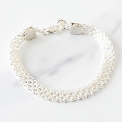 Sterling silver classic flat chain bracelet