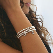 Silver 925 beads bracelet with crystal initial charm