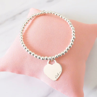 Sterling silver beads bracelet with classic Orli heart