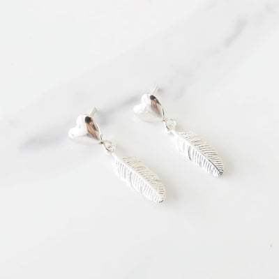 Sterling silver heart and feather stud earrings
