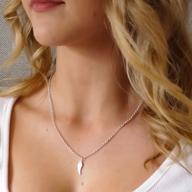 Sterling silver layering necklaces - Angel Wing