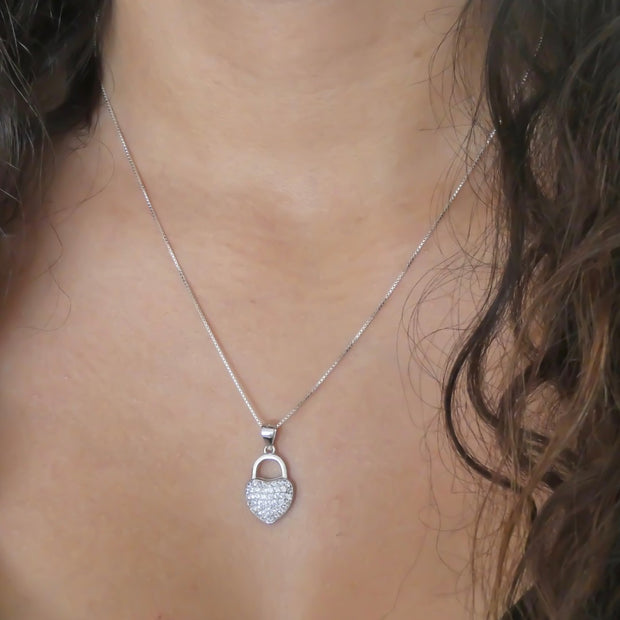Sterling silver crystal heart lock necklace