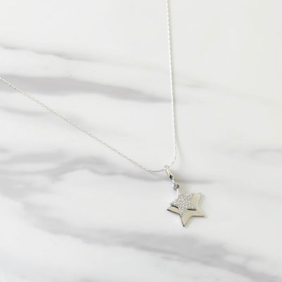 Sterling silver star and crystal star necklace