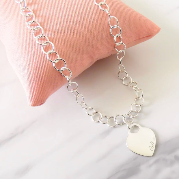 Sterling silver circle chain necklace with classic Orli heart