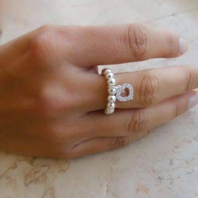 Silver 925 beads ring with open crystal heart