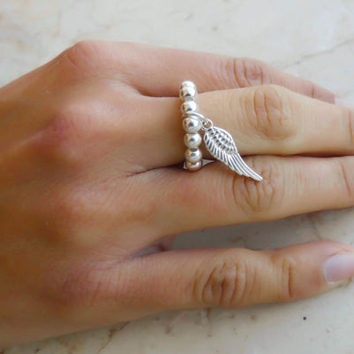 Sterling silver beads ring with angel wing