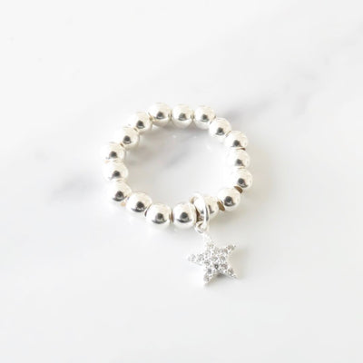Sterling silver beads ring with crystal star