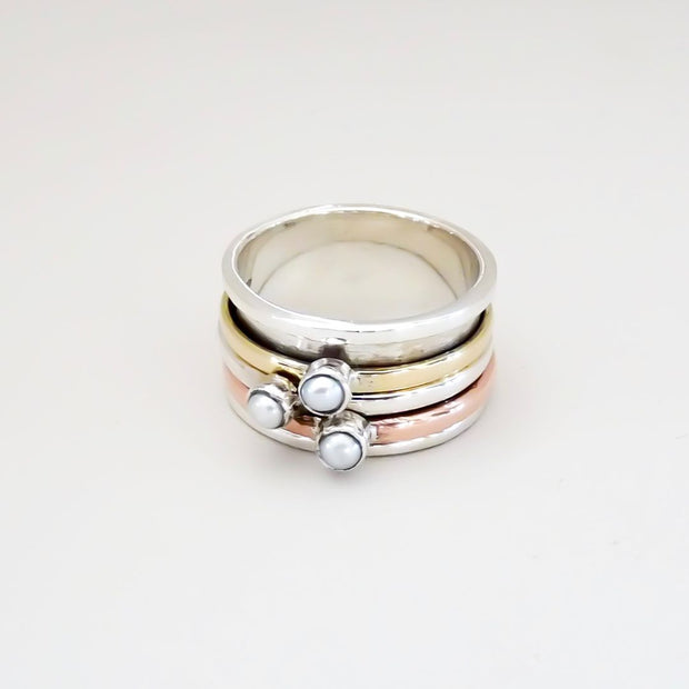 Sterling silver 3-tone spinner ring with pearls