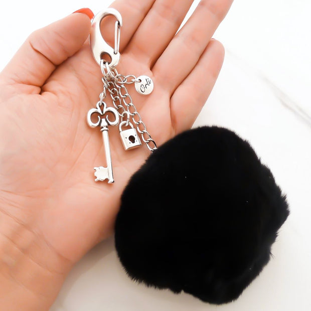 Key to my heart pompom keyring