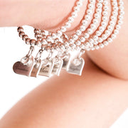 Grandma charm and crystal beads bracelet, silver - Orli Jewellery
