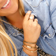 Snake-look faux leather magnetic wrap bracelet, rose gold and natural