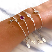 Sterling silver adjustable bracelet with Amethyst stone