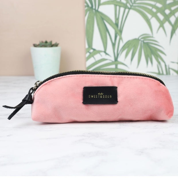Studio Sweet & Sour pink velvet slim make-up bag