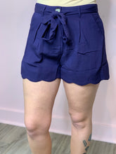 Load image into Gallery viewer, Navy Linen Scallop Shorts