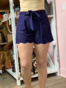 Navy Linen Scallop Shorts