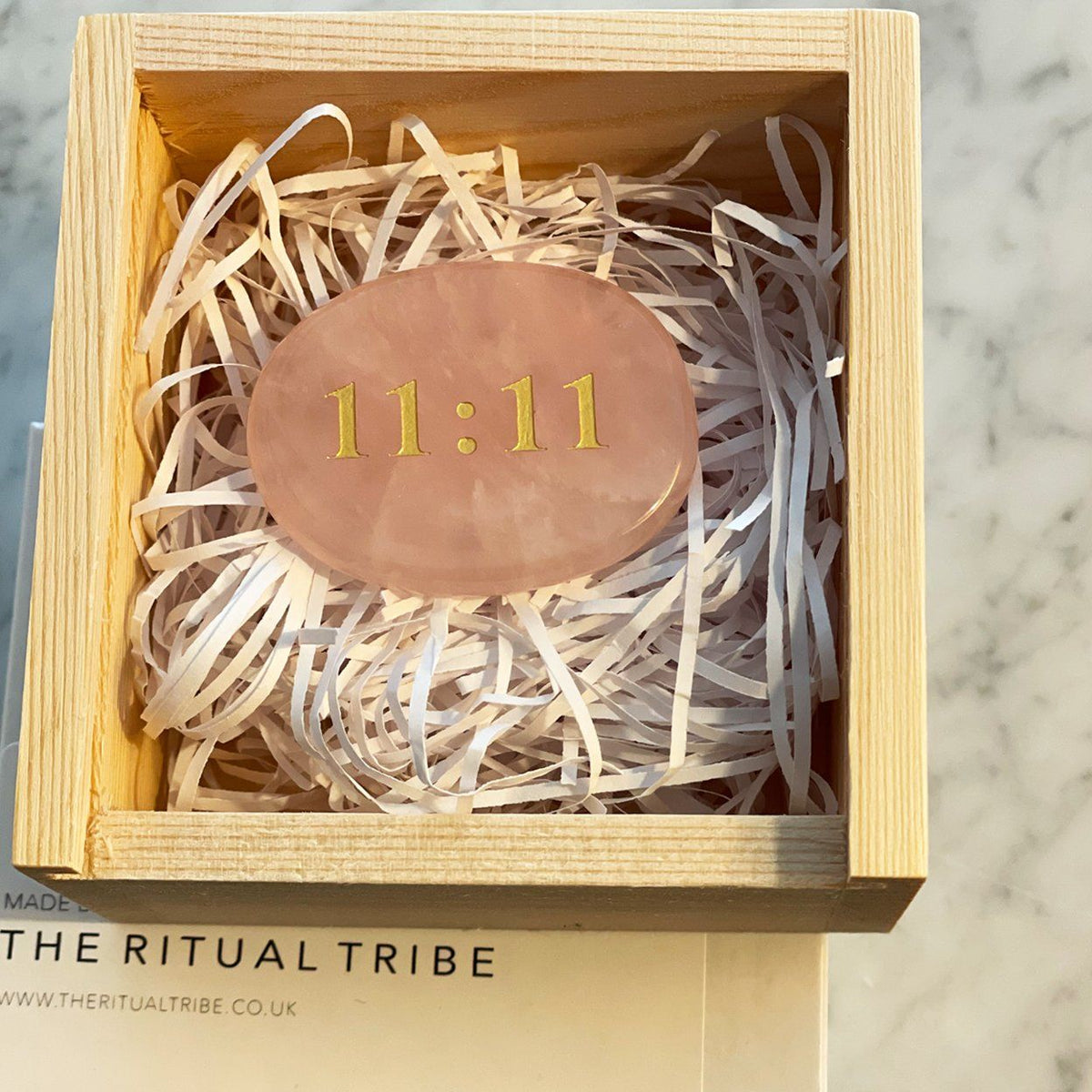 11:11 ~ Rose Quartz Palm Stone, Gift Boxed Red Tent Tribe