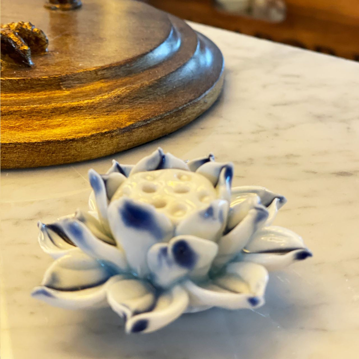 Handmade ceramic blue lotus incense stand Red Tent Tribe