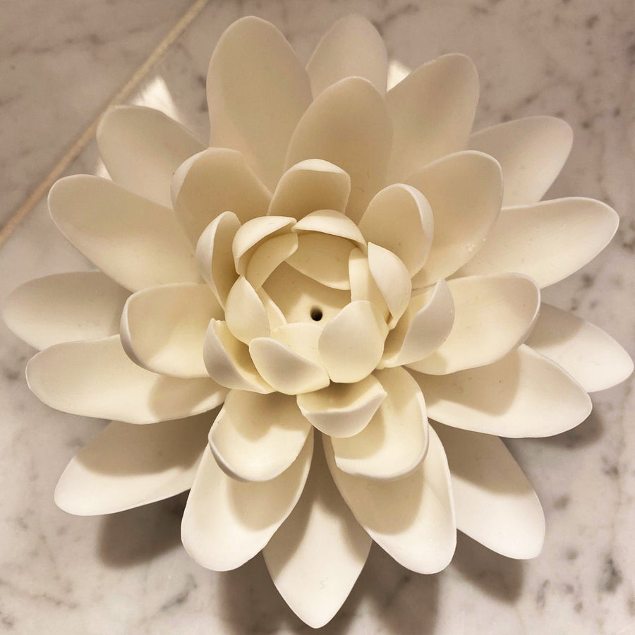 Large White Lotus Incense Holder Red Tent Tribe