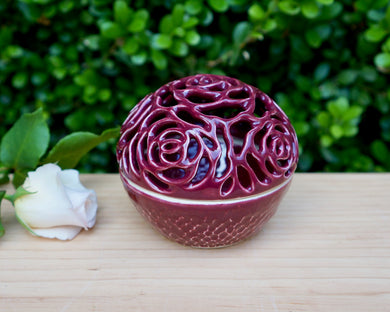 Rose Jewelry Jar in Red