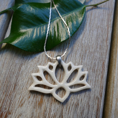 Lotus Necklace in White