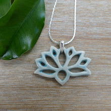 Load image into Gallery viewer, Lotus Necklace in Aqua