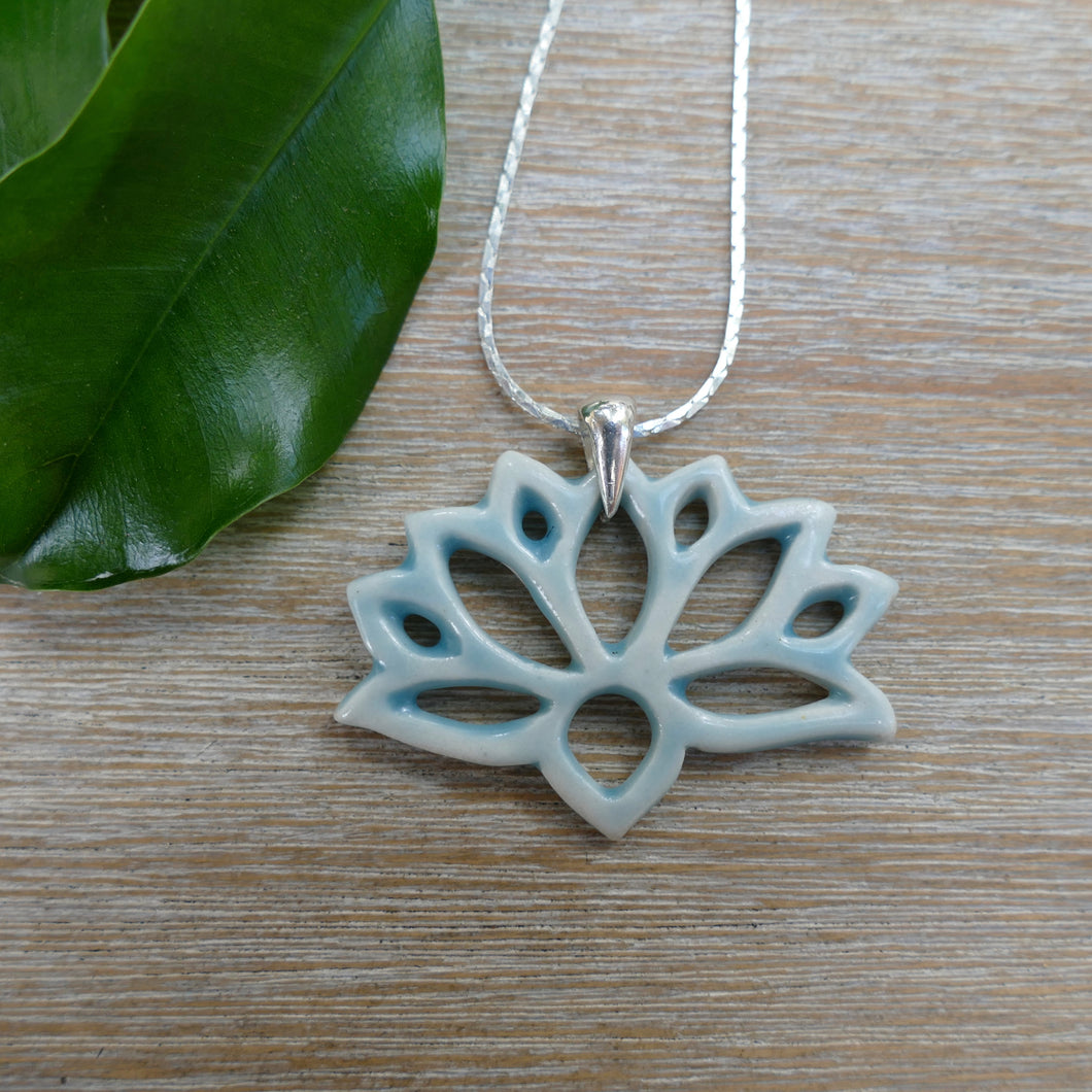 Lotus Necklace in Aqua