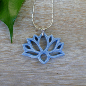 Lotus Necklace in Sky Blue