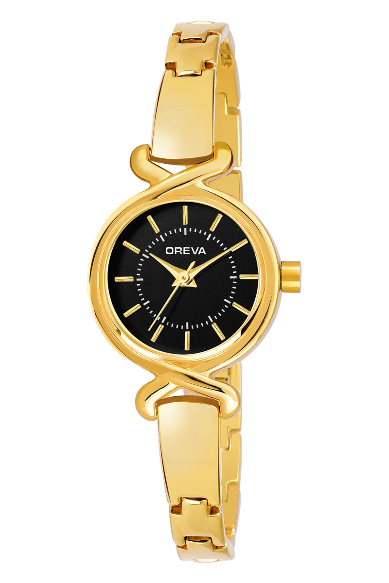 Oreva wrist watch (ORL-1003) for Ladies / Girls with Metel belt, Universal display in Gold /White /silver / Rose Gold & Black Dial