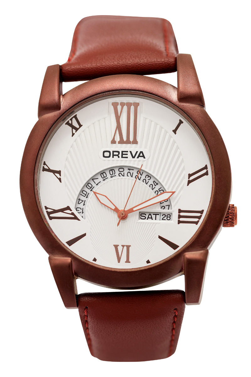 Oreva wrist watch (ORG-107) for men's/Boy's with leather belt, day and date display in Black/Silver Black/Silver Brown/Rosegold Silver dial