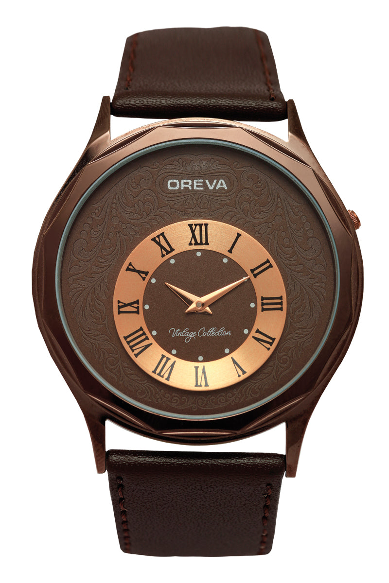 Oreva wrist watch (ORG-114) for men's/Boy's with leather belt,  super slim dial of Black/brown/silver/Grey/Ivory colours